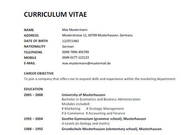 curriculum vitae europass auf deutsch - Lebenslauf Englisch Ubersetzung