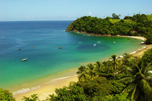 Am Strand in Tobago