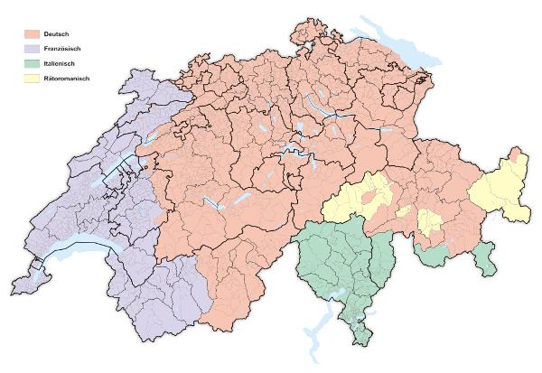 Karte Schweizer Sprachgebiete 2015