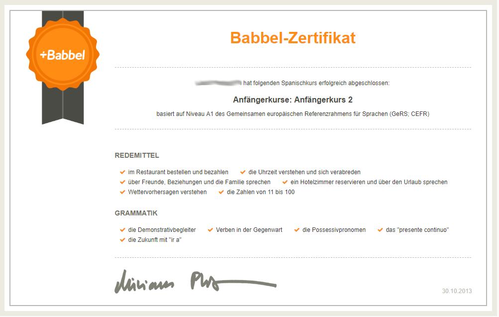 Babbel Zertifikat - Spanisch Anfängerkurs 1